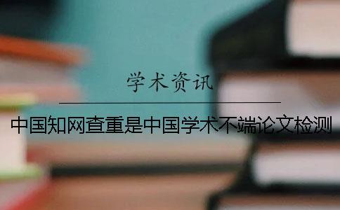 中国知网查重是中国学术不端论文检测吗?